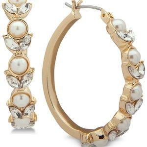 Gold-Tone Crystal & Imitation Pearl Hoop Earrings